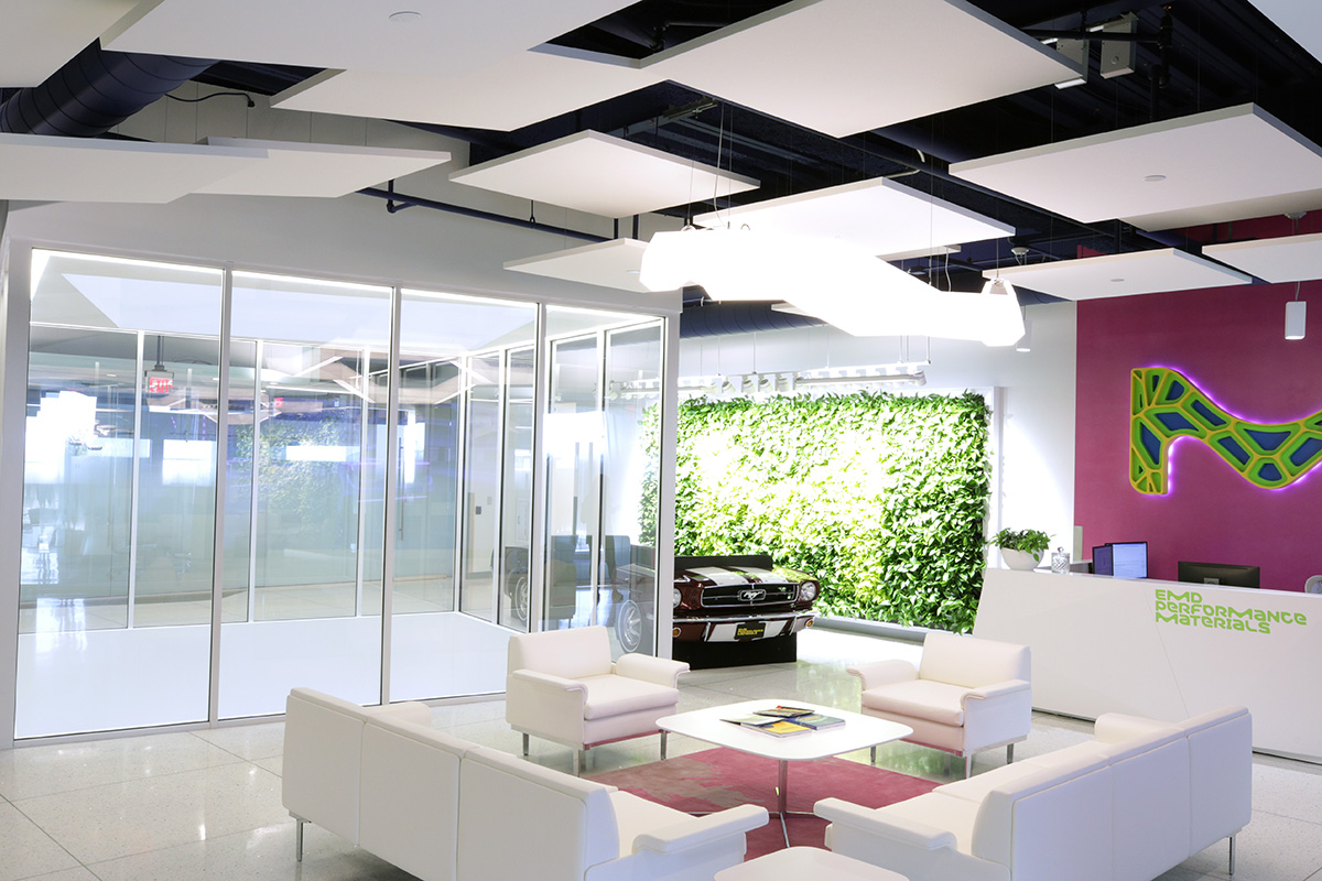 Ecophon® Solo™ Clouds Certainteed ceilings acoustic lobby